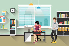 People work in office. Business woman and man, computer worker, Office desk table and workplace stock illustration