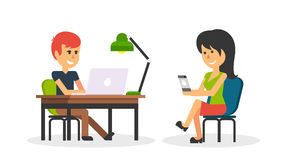 People Work in Office Design Flat. Business woman and man, computer worker, Office desk table and workplace. Guy girl sitting on chair at table in front of Royalty Free Stock Image