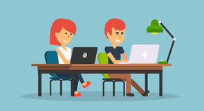 People Work in Office Design Flat. Business woman and man, computer worker, Office desk table and workplace. Guy girl sitting on chair at table in front of Royalty Free Stock Images