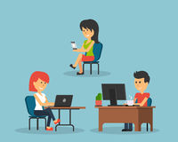 People Work in Office Design Flat. Business woman and man, computer worker, Office desk table and workplace. Guy girl sitting on chair at table in front of Stock Image