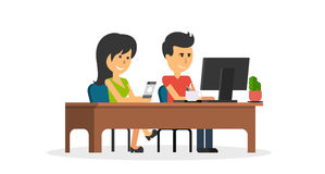 People Work in Office Design Flat. Business woman and man, computer worker, Office desk table and workplace. Guy girl sitting on chair at table in front of Royalty Free Stock Photography