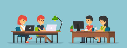 People Work in Office Design Flat. Business woman and man, computer worker, Office desk table and workplace. Guy girl sitting on chair at table in front of Stock Photos