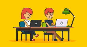 People Work in Office Design Flat. Business woman and man, computer worker, Office desk table and workplace. Guy girl sitting on chair at table in front of Royalty Free Stock Photos