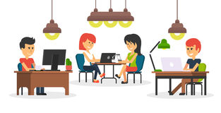 People Work in Office Design Flat. Business woman and man, computer worker, Office desk table and workplace. Guy girl sitting on chair at table in front of Stock Photo