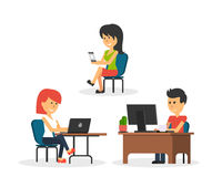 People Work in Office Design Flat. Business woman and man, computer worker, Office desk table and workplace. Guy girl sitting on chair at table in front of Stock Images