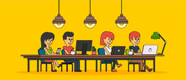 People Work in Office Design Flat. Business woman and man, computer worker, Office desk table and workplace. Guy girl sitting on chair at table in front of Stock Photography