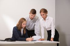 3 people work in the office Stock Photo