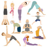 People work out in fitness club yoga classes vector character. Stock Image