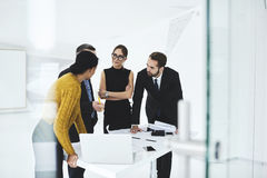 People at work  sharing opinions on formal meeting in conference hall Stock Image