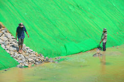 People work a the Siem Reap River Restoration Project Stock Photos