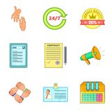 People work support icon set, cartoon style. People work support icon set. Cartoon set of 9 people work support vector icons for web design isolated on white stock illustration