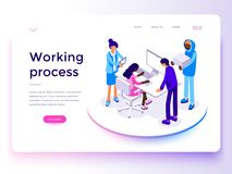People work in a team and achieve the goal. Landing page template. 3d vector isometric illustration. People work in a team and achieve the goal. 3d vector stock illustration