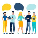 People team conversation vector illustration. People work team conversation with blank text bubbles. Business work situation in flat style. Cartoon vector stock illustration