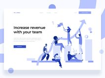 People work in a team and interact with graphs. Business, leadership, workflow management and office situations. Landing. People work in a team and interact with royalty free illustration