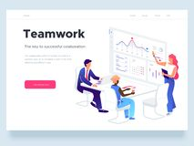 People work in a team and interact with graphs. Business, workflow management and office situations. Landing page. People work in a team and interact with graphs vector illustration