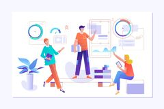 People work in a team and interact with graphs. Business, workflow management and office situations. Landing page stock illustration