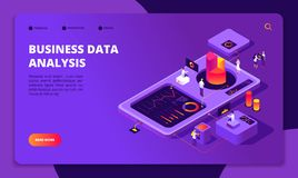 People work in team. Persons analyze financial charts in workplace. Achieve goal, modern business technology vector. Isometric concept. Illustration of business vector illustration