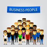 People at work with teamwork banner. Royalty Free Stock Photo