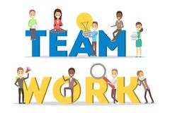 People work together in team. Strategy and business. People work together in team banner. Strategy and business planning. Workers support each other. Isolated vector illustration