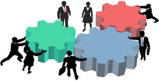 People work together technology business plan. Business people silhouettes push gears together to form a technology plan Stock Image