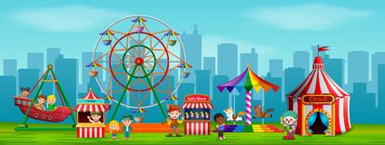 People worker and Children having fun in carnival at daytime. Illustration of People worker and Children having fun in carnival at daytime Stock Photo