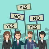 People workers holding yes and no signs for voting. Concept for protests, demonstrations and voting. Flat vector. Illustration vector illustration
