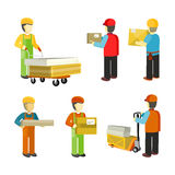People Workers in Warehouse Interior Isoated. People in warehouse interior. Delivery man, loader, carrier, shipping receiving material handler, selector Stock Image