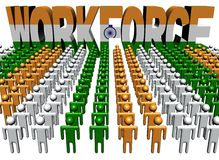 People with workforce Indian flag text Royalty Free Stock Image