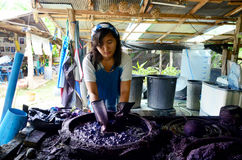 People working Batik dye Mauhom color process prepare and dyeing Royalty Free Stock Image