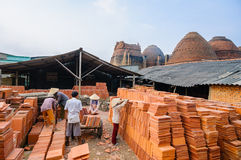 People working in brick kiln factory, Mekong Delta, Vietnam Royalty Free Stock Images