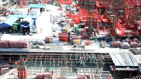 People working on Building Business Construction Site at Bangkok Thailand stock video