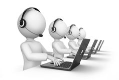 People working in call center. 3d illustration of row of people working in call centre with open laptops and headsets, white background Stock Photo