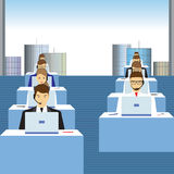People working in a call center. Office. Men and women working in a call center. Office. Support service. Call center stock illustration