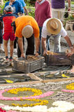 People working in the carpet of flowers. In la Orotava in June 2014, it´s a vertical picture Royalty Free Stock Photos