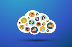 People Working In Cloud illustration Stock Photography