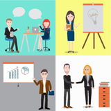People working in the co-working space infographics elements.ill Royalty Free Stock Image