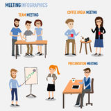 People working in the co-working space infographics elements.ill Stock Photography