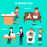 People working in the co-working space infographics elements Royalty Free Stock Photography
