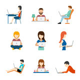 People working on computer flat icons Royalty Free Stock Photos