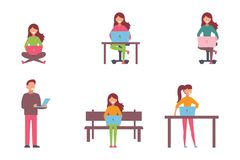 People working on computer and home and in office flat icons isolated vector illustration stock photography