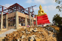 People working at Construction plant for build temple in Wat Bot temple. At Pathumthani Thailand Stock Photo