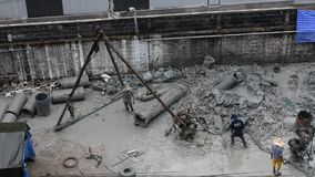 People working at the construction site in Bangkok, Thailand stock video footage