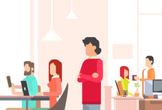 People Working Coworking Center Open Office Space. Flat Vector Illustration Royalty Free Stock Photography