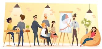 People Working in Coworking Office Cartoon Vector vector illustration