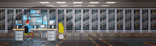 People Working In Data Center Room Hosting Server Computer Monitoring Information Database. Flat Vector Illustration Stock Photos
