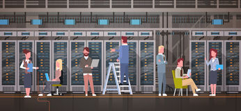 People Working In Data Center Room Hosting Server Computer Monitoring Information Database. Flat Vector Illustration Royalty Free Stock Photo