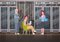 People Working In Data Center Room Hosting Server Computer Monitoring Information Database Stock Photography