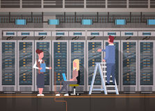 People Working In Data Center Room Hosting Server Computer Monitoring Information Database Royalty Free Stock Image