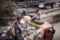 People working on garbage  car Royalty Free Stock Photo