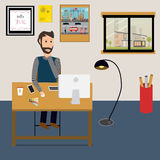 People working at home as a freelancer or remote work. Royalty Free Stock Images